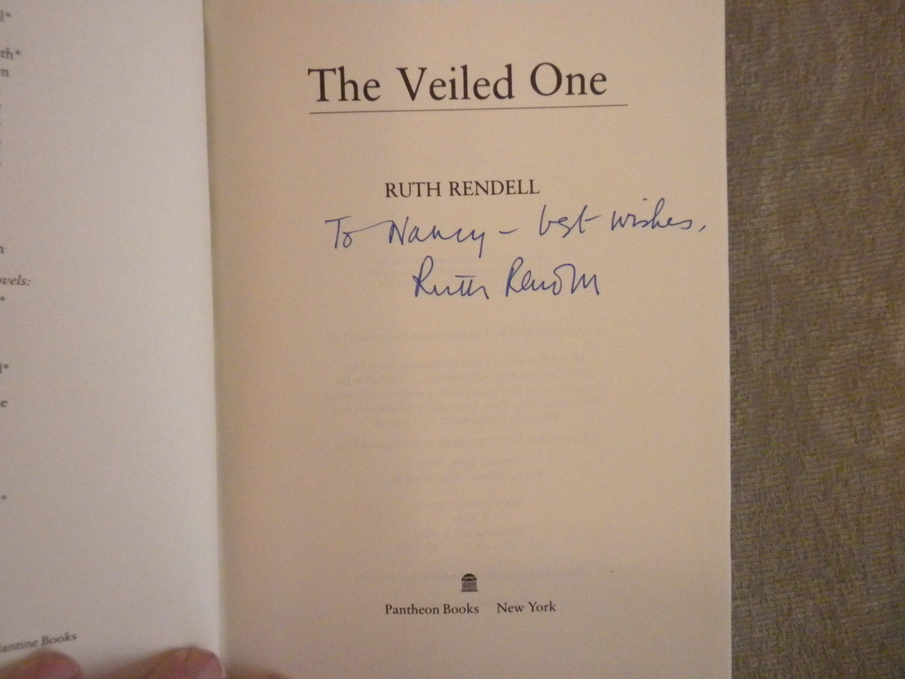 The Veiled One by Ruth Rendell signed stated 1st  US Ed HC w DJ  1988 VG+
