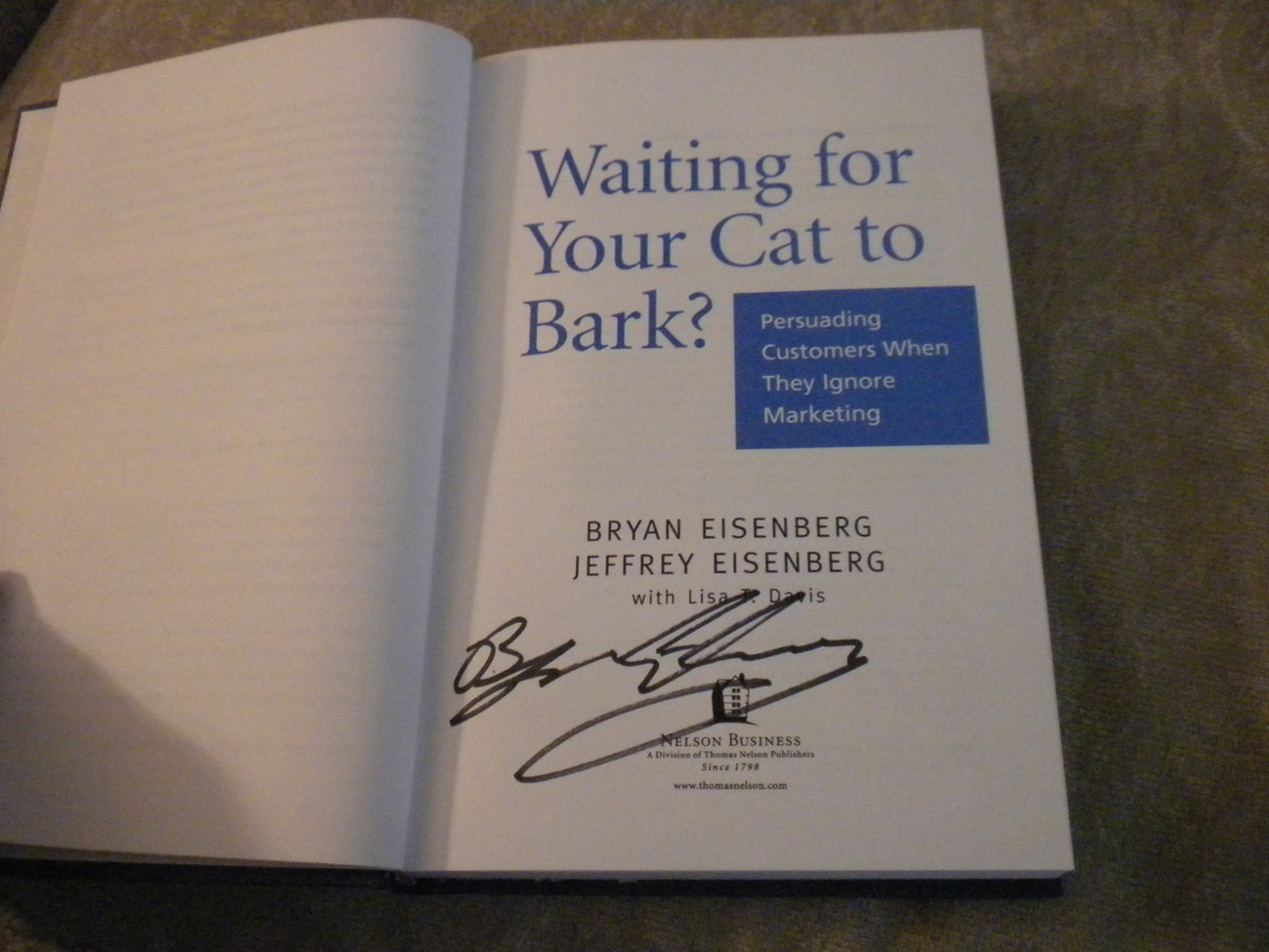 Waiting for Your Cat to Bark by Eisenberg signed 1st w full number line 2006 NF
