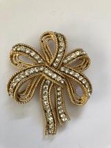 Trifari Cavalcade Gold-Tone Bow Pin Brooch with Rhinestones, Large - $32.26