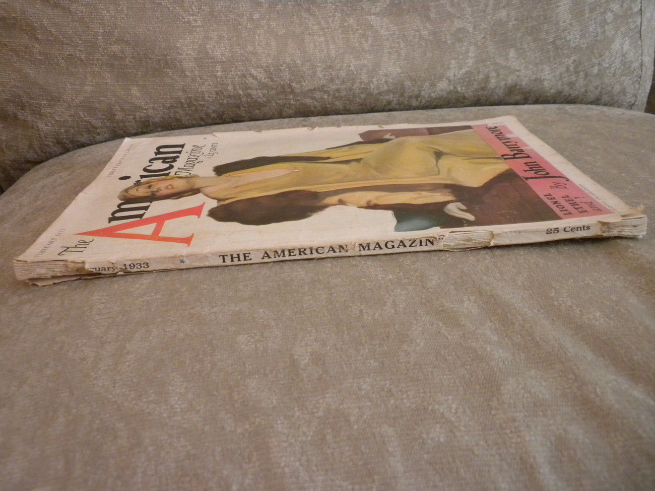 The American Magazine Feb 1933 w the Barrymores, PG Wodehouse, cover by Stanlaws