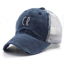 CR Embroidery letter cotton washed baseball caps unisex casual caps sun ... - $11.79
