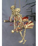 Two Samhain Skeleton Riding Brooms/ Besoms Ornaments - $7.99
