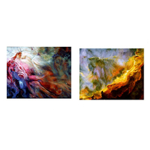 The Orion and Swan Nebulas, An Original Pair of Space Landscapes, Each 1... - $1,900.00