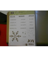 Stampin Up Wooden Stamp Set (new) HOLLY JOLLY GREETINGS (22 stamps) - $28.17