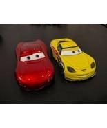 "Lot of two Disney Pixar metal 4"" toy cars Lightning McQueen & Jeff Corvette - $11.77"