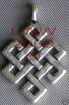 Silver-tone Celtic Knot Diamond pendant necklace Charm - $3.99