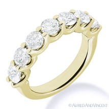 Round Cut Forever ONE D-E-F Moissanite 14k Yellow Gold 7-Stone Band Wedd... - €403,88 EUR+