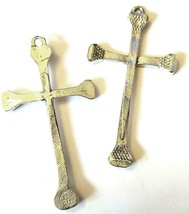 Nail Cross Fine Pewter Pendant - Approx. 2 1/4 Inches Long (T200)