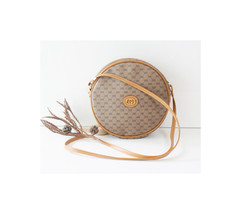 Gucci Bag Vintage Monogram Brown Round Shoulder Handbag Purse Authentic - $450.00
