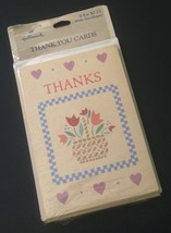 Vtg Hallmark Thank You Cards With Envelopes Country Chic Rustic Flowers ... - $12.86