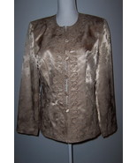 Che Studio Beige Beaded Satin Brocade Blazer Size 10 - $10.99