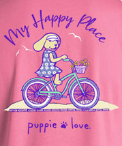Puppie Love Rescue Dog Men Women Short Sleeve Graphic T-Shirt, Happy Biking Pup image 2