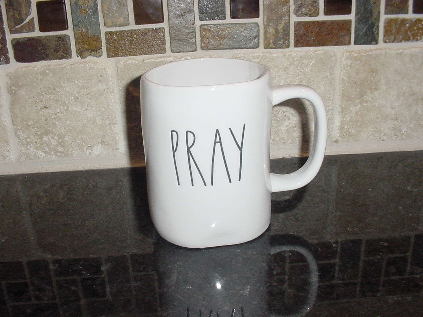 Rae Dunn PRAY Rustic Mug, Ivory with Black Letters, New!