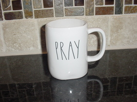 Rae Dunn PRAY Rustic Mug, Ivory with Black Letters, New! - $12.00