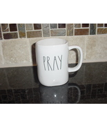 Rae Dunn PRAY Rustic Mug, Ivory with Black Letters, New! - $13.00