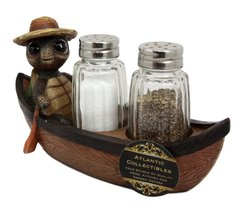 Atlantic Collectibles Camper Turtle Zippy Rowing Boat Salt Pepper Shaker... - €16,29 EUR