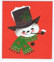 Vintage Hallmark Christmas Card Happy Snowman Smoking Pipe - $7.99