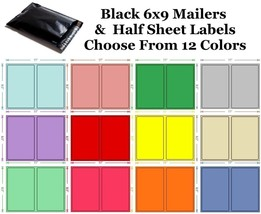6x9 ( Black ) Poly Mailers + Colored Half Sheet Self Adhesive Shipping L... - $2.99+