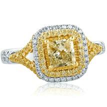 Princess Cut Halo 1.30 Ct Light Yellow Diamond Engagement Ring 18k White... - $2,370.72