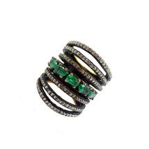 Pave Diamond Emerald Gemstone Ring 925 Sterling Silver Wedding Jewelry R... - $293.20