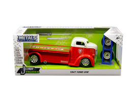 """1947 Ford COE Tow Truck Red with White Top \""""Firestone\"""" and Extra Wheels \""""Just - $42.22"""