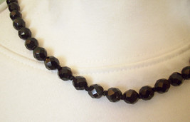 JET BLACK Faceted GLASS Beads Choker Necklace Hand Knotted Magnetic Clas... - $19.79
