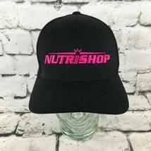 Nutrishop Mens Sz S-M Hat Black Pink Logo Fitted Flexfit Yupoong Basebal... - $16.82