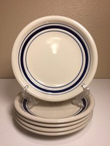 (5) Tienshan Stoneware Country Crock Salad Bread Plates Blue Stripes 7 5... - $18.69