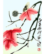 Moth & Flowers 22x30 Chinese Print by Chi Pai Shih Asian Art Ltd. Edition - $64.33