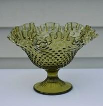 Fenton Hobnail Colonial Green Footed Bowl #3731 CG - $22.77