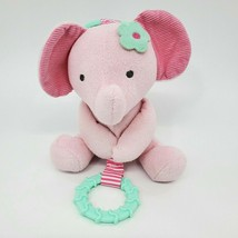 """6"""" Carters Elephant Pink Green Plush Rattle Teether Lovey 62076 Baby Toy... - $11.99"""
