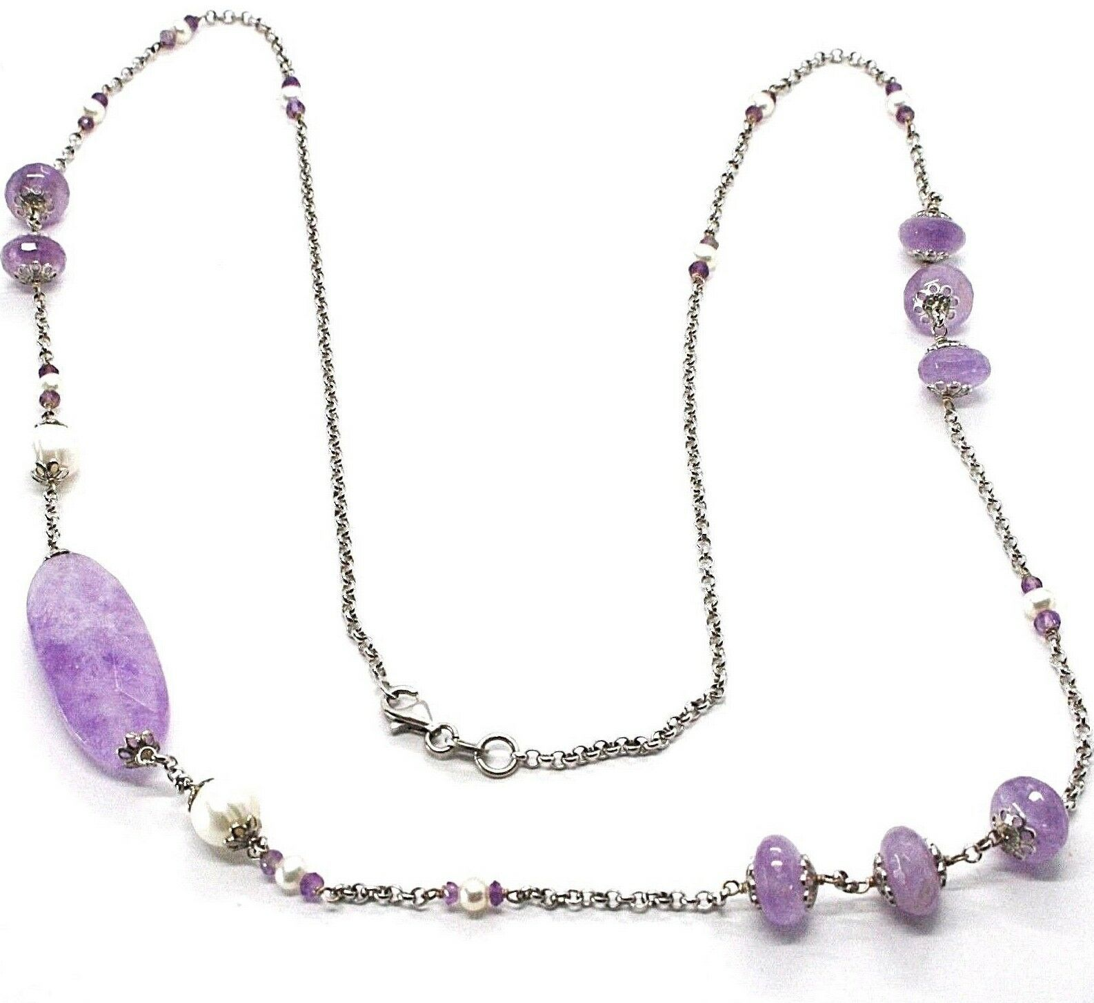SILVER 925 NECKLACE, AMETHYST, OVAL AND DISCO, PEARLS, LENGTH 80 CM