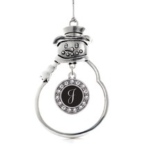 Inspired Silver My Script Initials - Letter J Circle Snowman Holiday Christmas T - $14.69