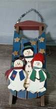Wooden Snowman Sled Christmas Holiday Decor Wall Hanger. Rustic - $34.25
