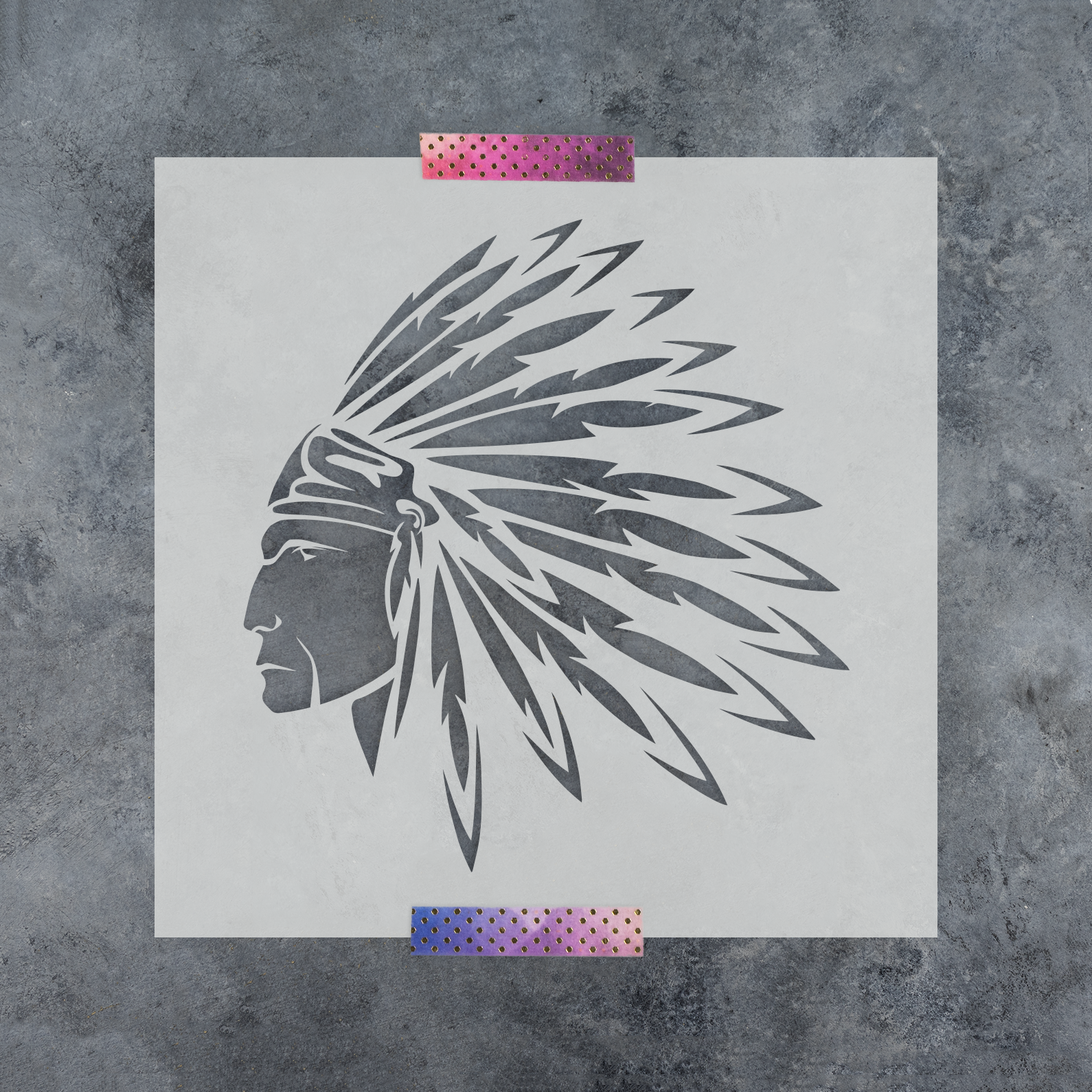 Indian Stencil - Reusable Stencil of an Indian Head Dress in Multiple Sizes