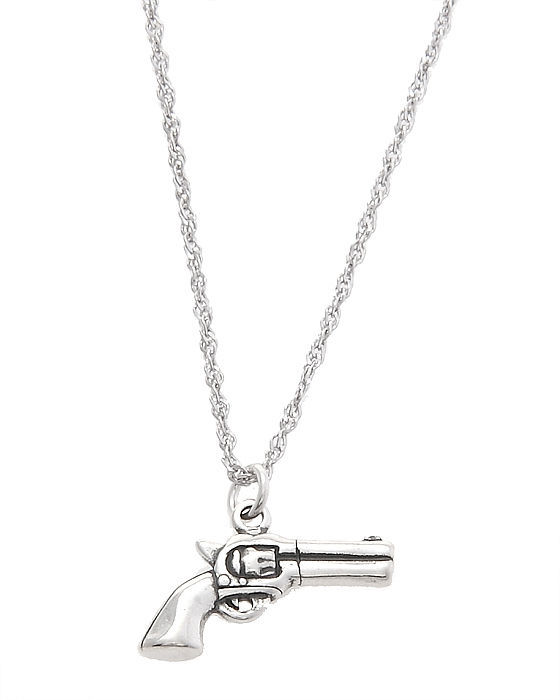 STERLING SILVER DOUBLE SIDED PISTOL CHARM WITH THIN SINGAPORE CHAIN NECKLACE - $20.53 - $28.01