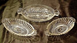 Heavy Etched Cut Glass Relish Tray and Two small Serving Trays AA20-CD0058 Vinta image 2