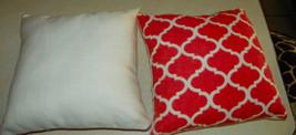 Pair of Orange White Abstract Print Throw Pillows  16 x 16 - $59.95