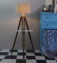 Nauticalmart HOLLYWOOD-DESIGNER Natural Wood And Beige Color Tripod Floor Lamp - $197.01