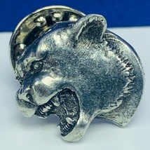 Pinback button pin vtg collectible panther tiger cat pewter silver couga... - $13.50