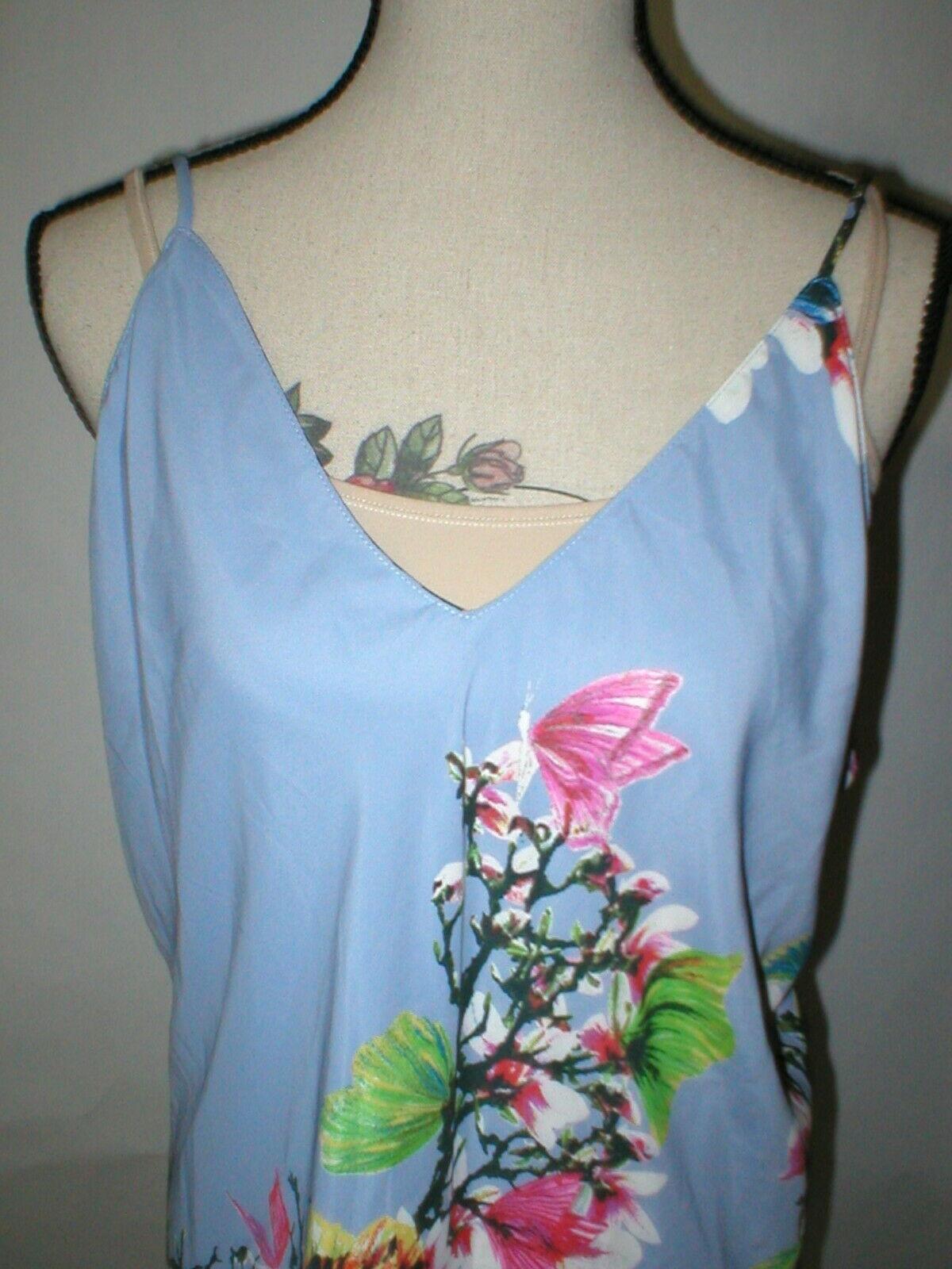 NWT New Designer Natori Womens XL Night Gown Silky Light Blue Pink White Flower image 5
