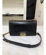 AUTHENTIC CHANEL BLACK SMOOTH CALFSKIN LEATHER MEDIUM BOY FLAP BAG ANTIQ... - $2,888.00