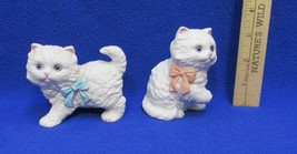 Playful Kittens Figurines Cats Homco Set 2 White Porcelain Colored Ribbo... - $7.91