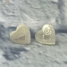 White Mother Of Pearl Shell Carved Heart Earrings Pierced Vintage Valentine - $19.80