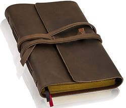 Handmade Leather Lined Journal Notebook - Genuine Leather Bound Daily No... - $35.75