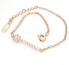 femmes fille Plaqué Or Rose Zircone cubiczirconia cristal réglable Brace... - $15.99