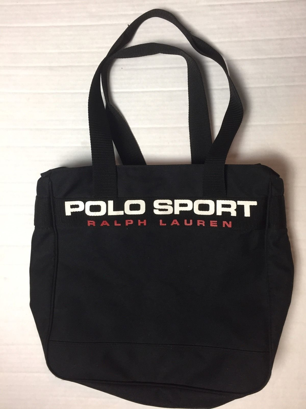 862f46f929 POLO SPORT Ralph Lauren Vintage new Large Spell out Canvas Tote Zipper Bag  MINT