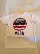 4th of July Place shirt Size 10 12 large Emoji patriotic USA stars stripes white - $12.99