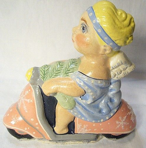 Vaillancourt Folk Art Angel on Scooter new personally Signed  Judi