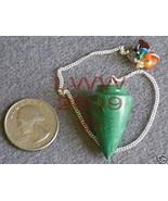 Malachite Scrying Pendulum 7 Chakra Stones Wicca NEW - $9.85